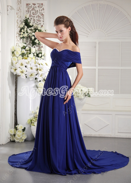 One Shoulder Short Sleeves Royal Blue Chiffon Prom Dress 2016