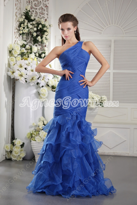 Special One Shoulder Royal Blue Organza Mermaid Quinceanera Dress