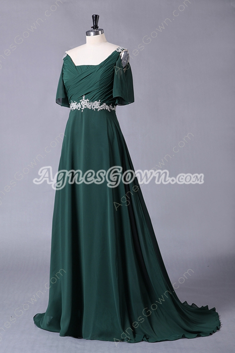 Shot Sleeves Dark Green Chiffon Prom Dress