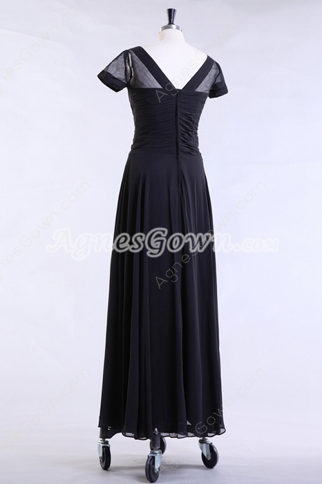 Short Sleeves Ankle Length Drak Navy Mother Of The Bride Dress