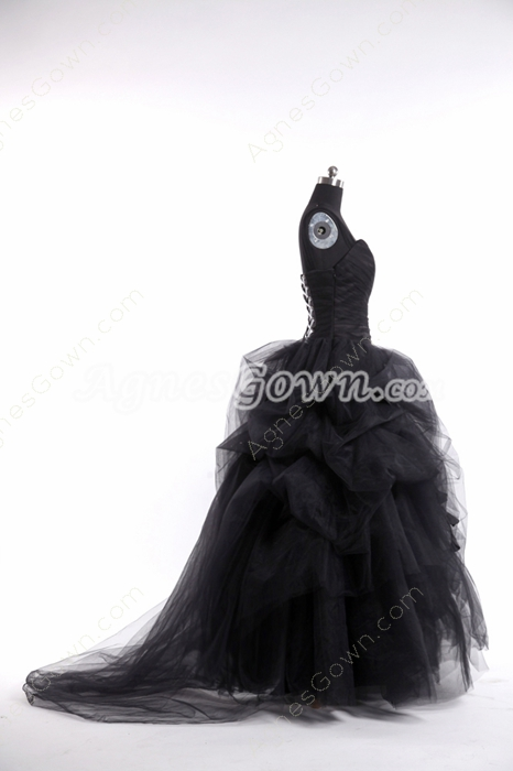 Double Straps Ball Gown Gothic Black Wedding Dress