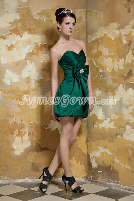 Cute Mini Length Hunter Green Graduation Dress With Bowknot