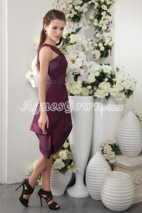 Unique Straps A-line Asymmetrical Hem Grape Colored Graduation Dress