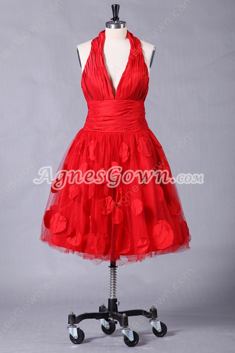 Top Halter Knee Length Red Tulle Puffy Sweet Sixteen Dress