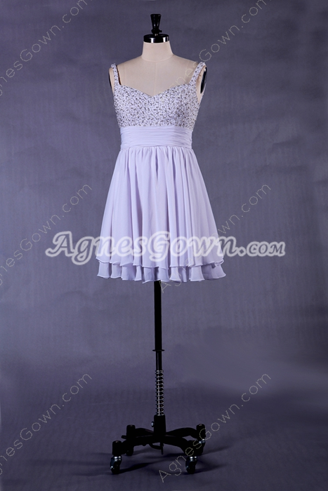 Straps Mini Length White Prom Dress With Great Handwork