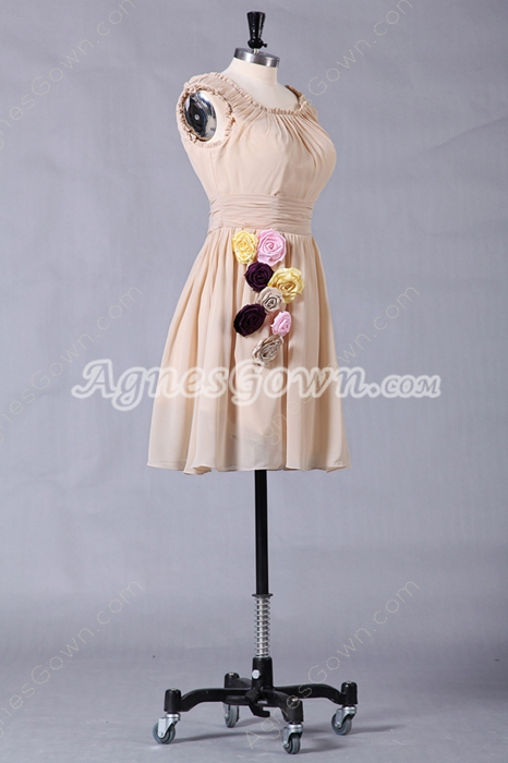 Short Length Scoop Neckline Champagne Homecoming Dress
