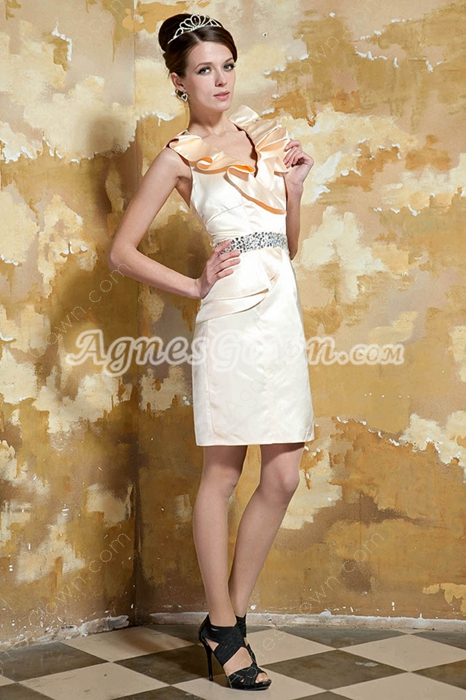 Halter A-line Mini Length Champagne Homecoming Dress