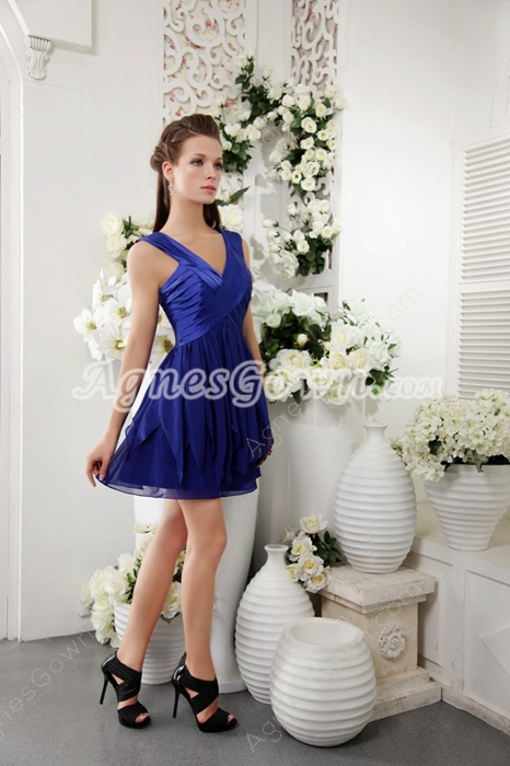 Cute V-Neckline Mini Length Royal Blue Chiffon Graduation Dress