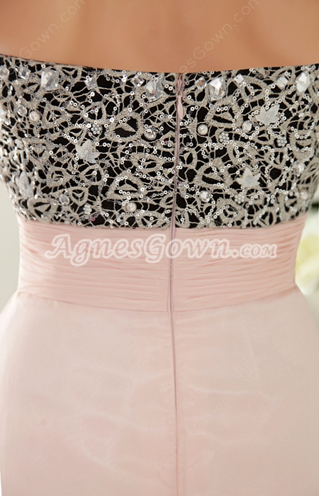 Black And Pink Chiffon Prom Dress With Lace
