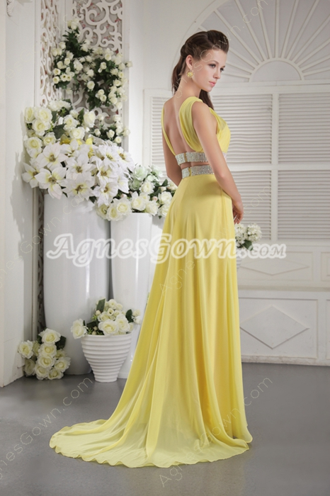 Straps Open Back Chiffon Yellow Evening Gown