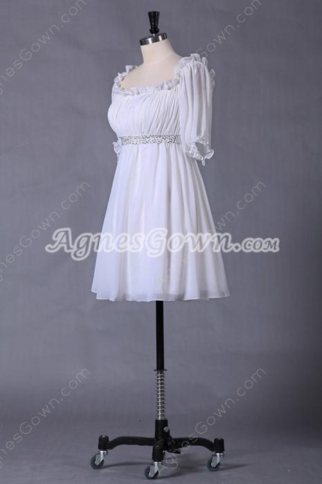 Short Length Half Sleeves Chiffon White Homecoming Dress