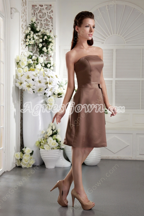 Simple Strapless Knee Length Brown Satin Bridesmaid Dress