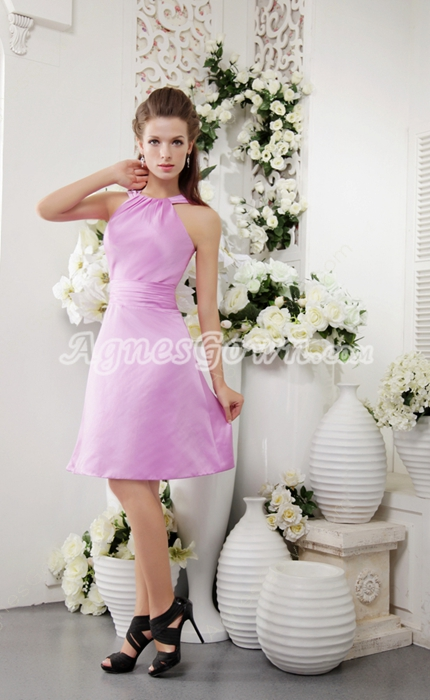 Short Length Lilac Satin Junior Bridesmaid Dress