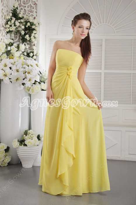 Noble Straight/Column Yellow Chiffon Bridesmaid Dress