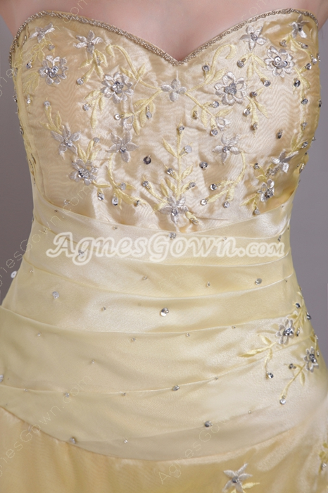 Shallow Sweetheart Yellow Embroidery Prom Dress Corset Back