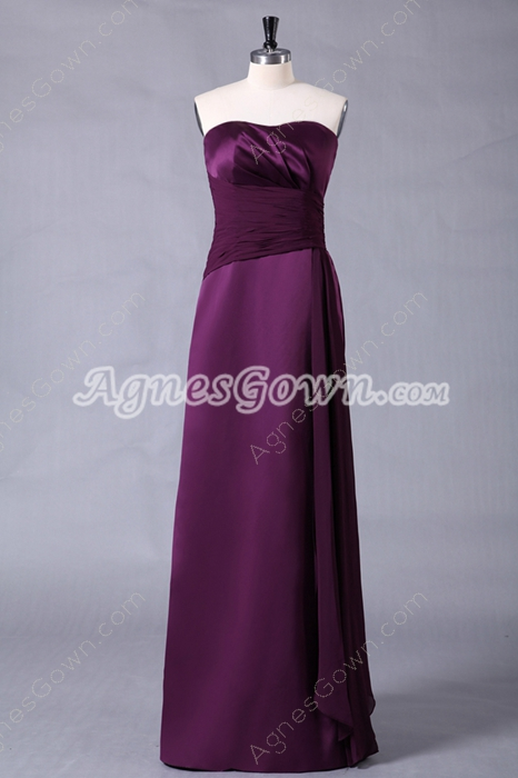 Noble Dipped Neckline Column Purple Bridesmaid Dress
