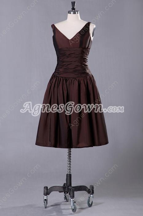 V-Neckline Puffy Knee Length Chocolate Prom Dress