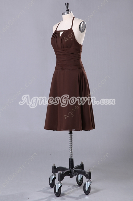 Knee Length Brown Chiffon Halter Bridesmaid Dress For Summer