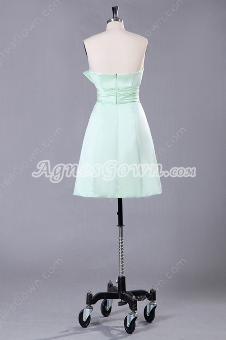 Mini Length Sage Bridesmaid Dress With Bowknot