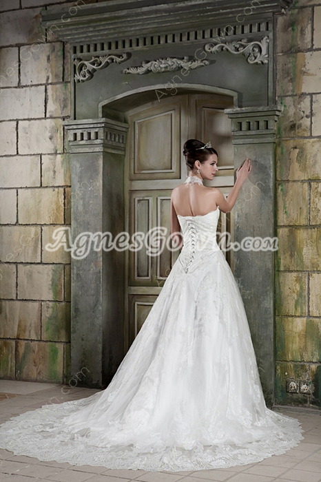Unique Halter Puffy Floor Length Princess Lace Wedding Dress