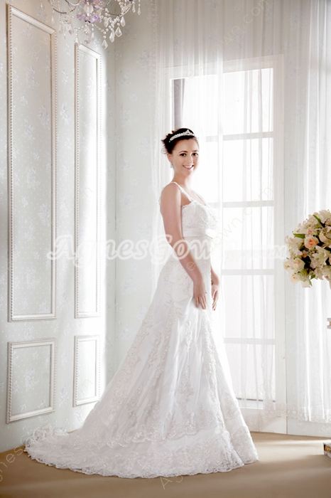 A-line Tank Straps Lace Wedding Dress
