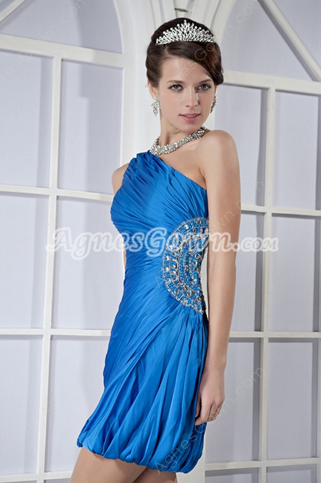 One Shoulder Sheath Mini Length Turquoise Wedding Guest Dress