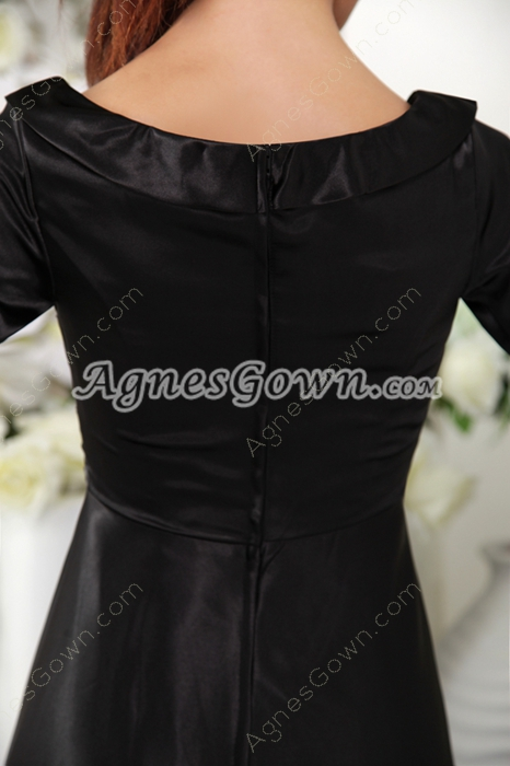 Short Sleeves Column Long Black Mother Of The Bride Dress
