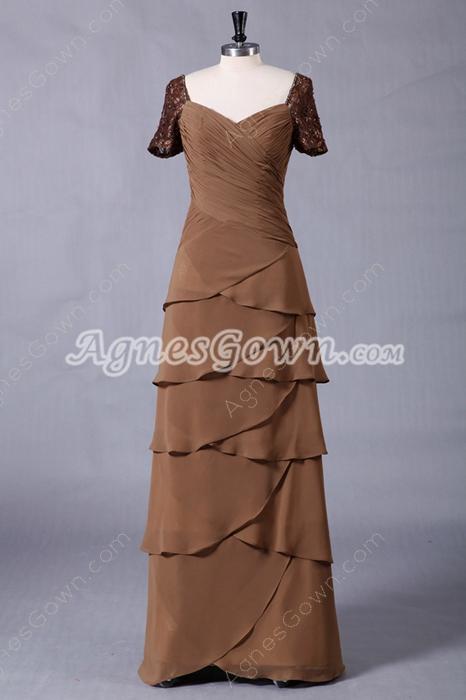 Short Sleeves Column Floor Length Brown Mother Of The Bride Dress