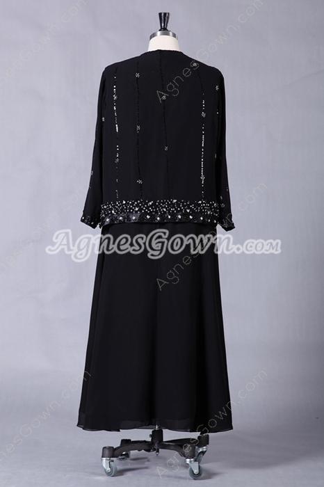 Modest Tea Length Black Chiffon Mother Of The Bride Dress