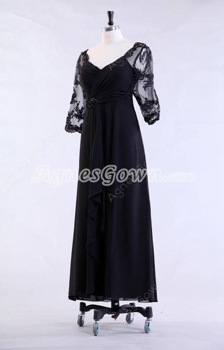 3/4 Sleeves Column Tea Legth Drak Navy Mother Of The Bride Dress