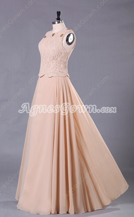 Jewel Neckline Column Full Length Champagne Mother Dress With Lace