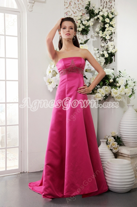 Strapless A-line Fuchsia Satin Prom Dress With Exquisite Handwork