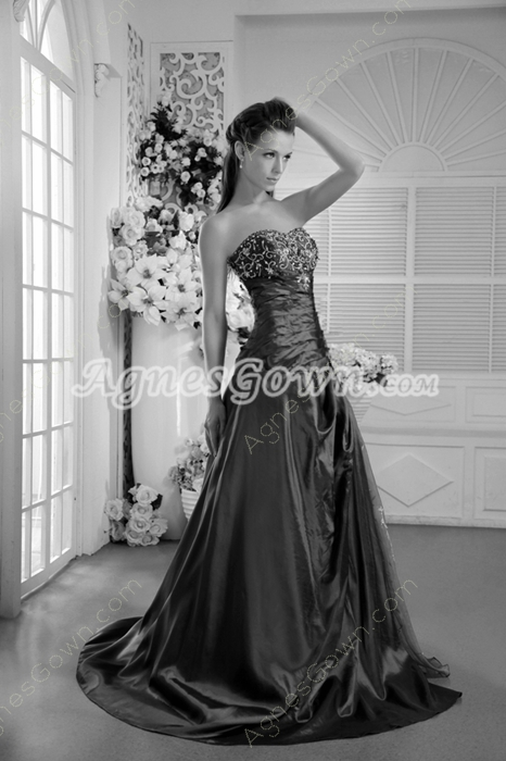 Glamour Sweetheart Graple Color Taffeta Embroidery Prom Dress