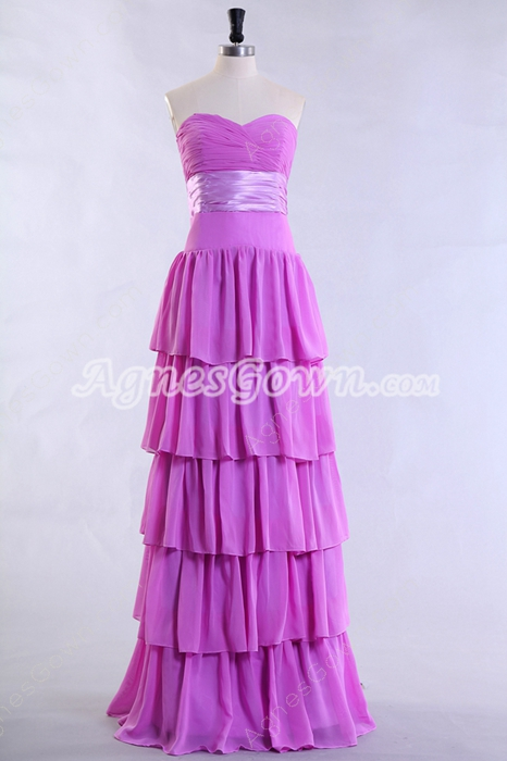 Column Full Length Lilac Chiffon Prom Dress With Tiered
