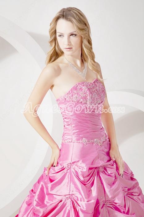 Strapless Ball Gown Taffeta Hot Pink Quinceanera Dress 2016
