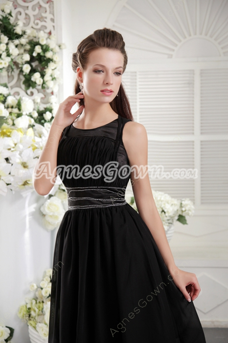 A-line Knee Length Scoop Neckline Black Chiffon Prom Dress