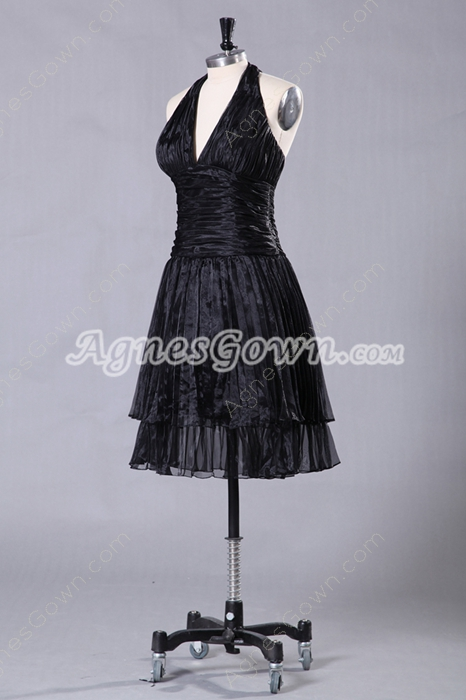 Top Halter Knee Length Black Prom Dress