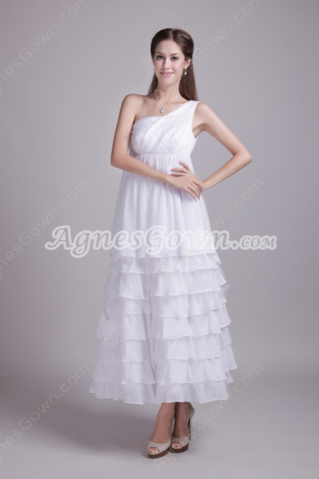 Desirable One Shoulder Maternity Wedding Dress Tea Length