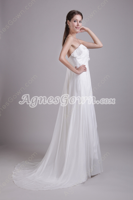 Exclusive Empire Chiffon Maternity Wedding Gown With Floral Bust