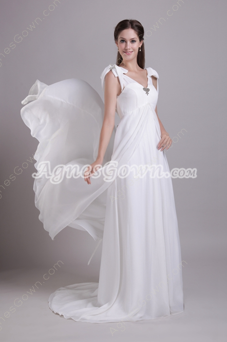 Corset Back V-Neckline Empire Full Length White Chiffon Maternity Wedding Dress
