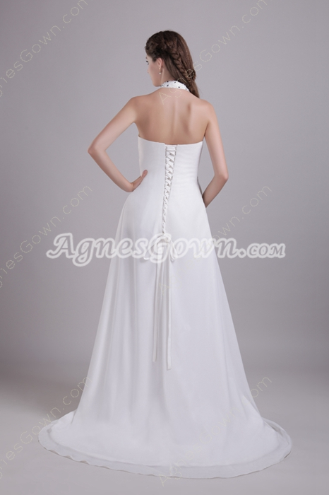Top Halter Empire Full Length Ivory Chiffon Maternity Wedding Gown
