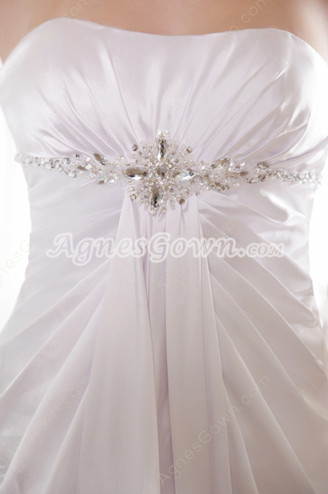 Simple Dipped Neckline Satin Plus Size Wedding Gown