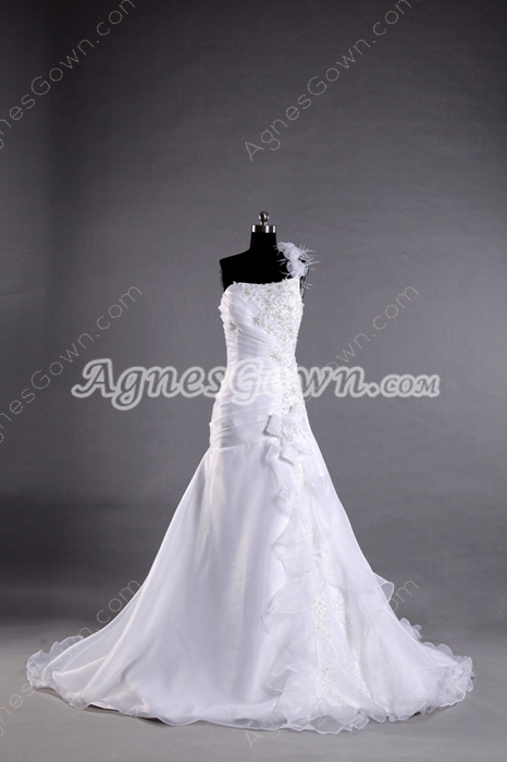 Beautiful White Organza One Shoulder Sheath Wedding Dresses