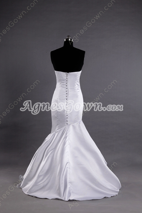 Shallow Sweetheart Satin Mermaid Wedding Dresses Button Back