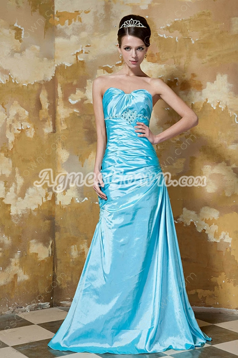 Sheath Floor Length Blue Taffeta Prom Dress Corset Back