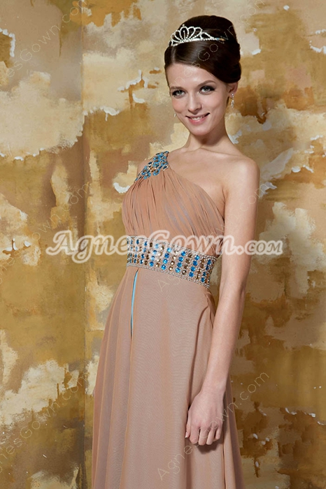 Modest One Shoulder Column Full Length Champagne And Blue Evening Dress