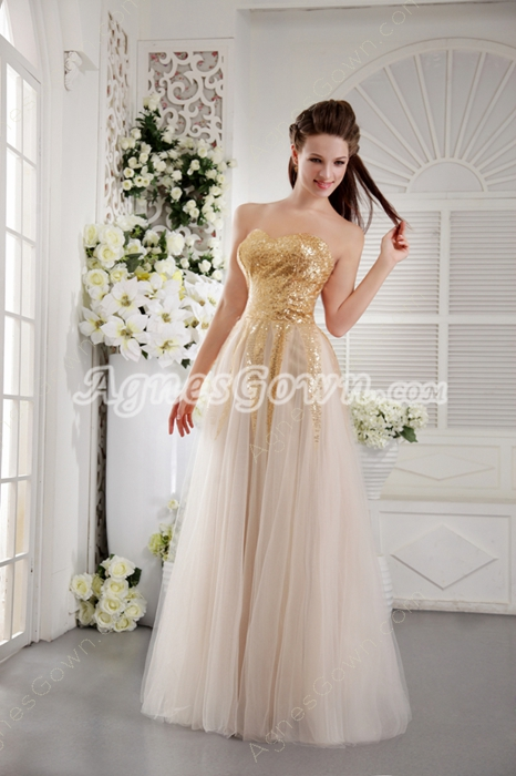 Fashionable Gold Sequined Tulle Princess Quince Dress
