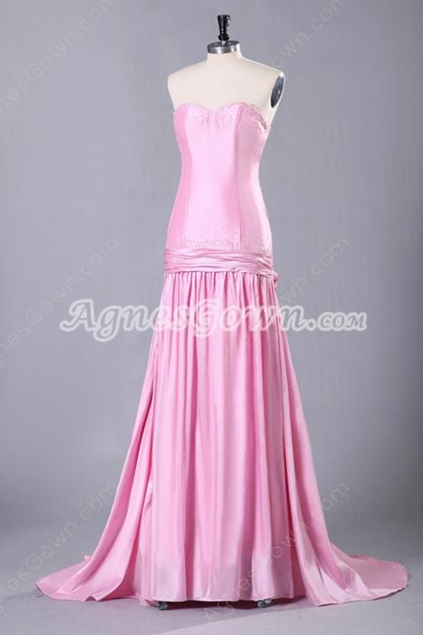 Sweetheart Column Floor Length Pink Prom Dress Corset Back