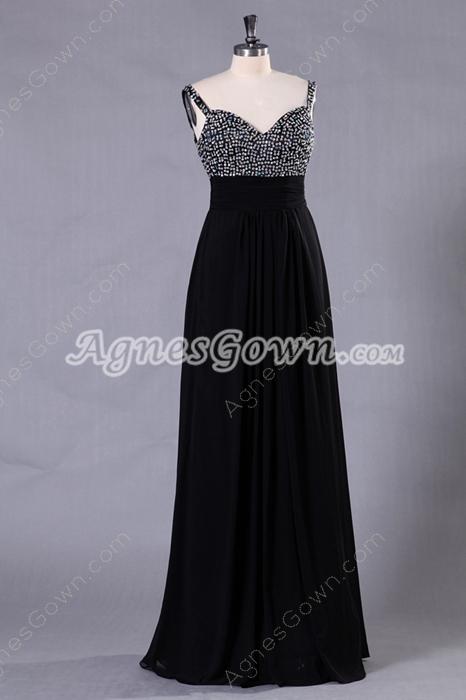 Column Floor Length Spaghetti Straps Black Prom Dress With Handmade Bodice