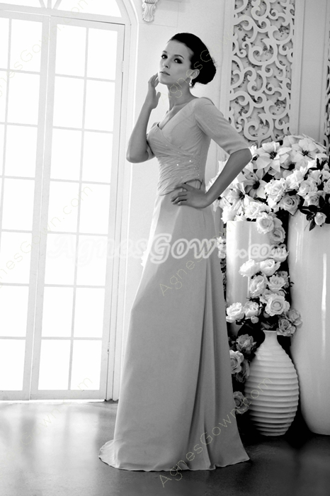 Half Sleeves Champagne Chiffon Mother Of The Bride Dress